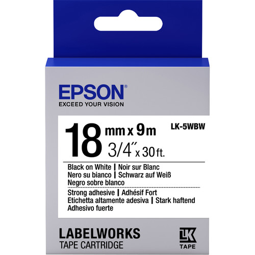 "Epson LabelWorks Strong Adhesive LK Tape Black on White Cartridge (3/4"" x 30')"
