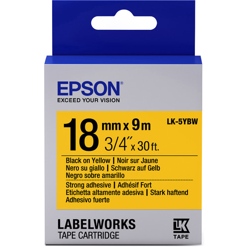 """Epson LabelWorks Strong Adhesive LK Tape Black on Yellow Cartridge (3/4"""" x 30')"""