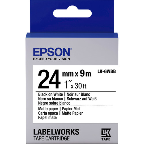 "Epson LabelWorks Matte Paper LK Tape Black on White Cartridge (1"" x 30')"