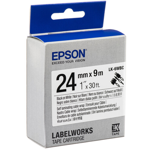 """Epson LabelWorks Self Laminating Cable Wrap LK Tape Black on White Cartridge (1"""" x 30')"""