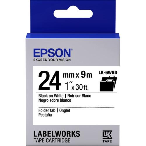 "Epson LabelWorks Folder Tab LK Tape Black on White Cartridge (1"" x 30')"