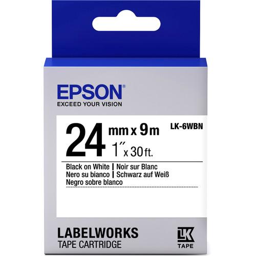"Epson LabelWorks Standard LK Tape Black on White Cartridge (1"" x 30')"