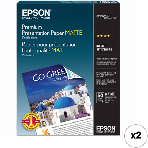 "Epson Premium Presentation Paper Matte Double-Sided (8.5 x 11"", 2 x 50 Sheets)"