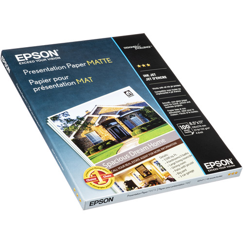 "Epson Presentation Paper Matte Kit (8.5 x 11"", Two 100-Sheet Packs)"
