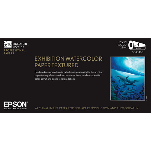 "Epson Exhibition Watercolor Paper Textured (17"" x 50' Roll)"