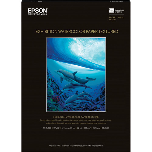 """Epson Exhibition Watercolor Paper Textured (13 x 19"""", 25 Sheets)"""