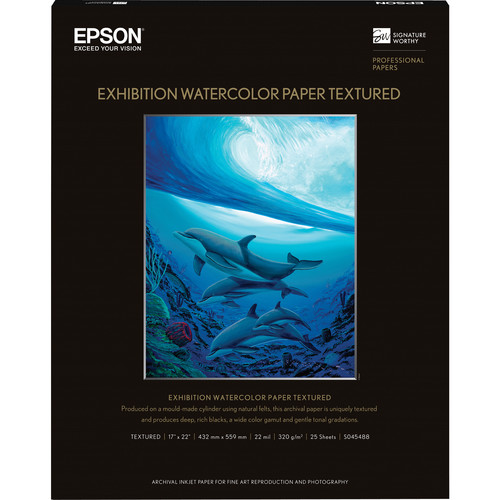 """Epson Exhibition Watercolor Paper Textured (17 x 22"""", 25 Sheets)"""