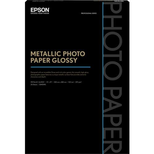 "Epson Metallic Photo Paper Glossy (13 x 19"", 25 Sheets)"