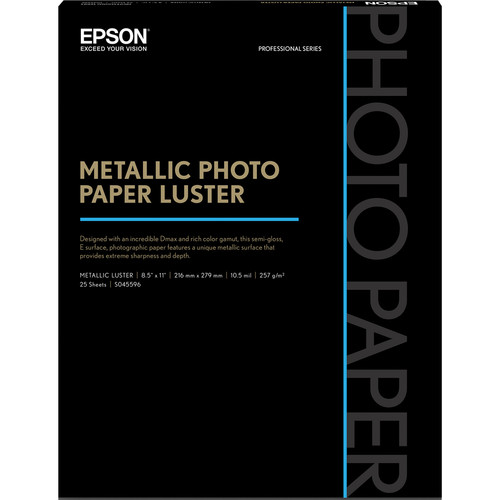 "Epson Metallic Photo Paper Luster (8.5 x 11"", 25 Sheets)"