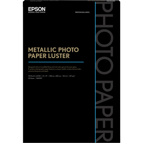 "Epson Metallic Photo Paper Luster (13 x 19"", 25 Sheets)"