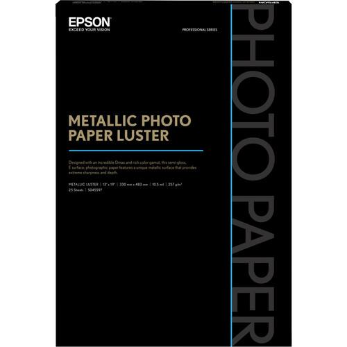 "Epson Metallic Photo Paper Luster (13 x 19"", 25 Sheets)"