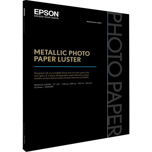 "Epson Metallic Photo Paper Luster (17 x 22"", 25 Sheets)"