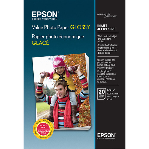 """Epson Value Photo Paper Glossy (4 x 6"""", 20 Sheets)"""