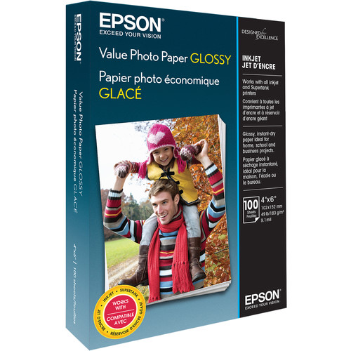 """Epson Value Photo Paper Glossy (4 x 6"""", 100 Sheets)"""