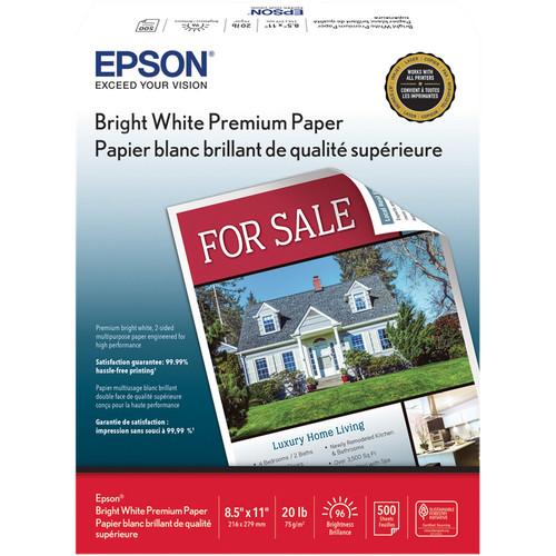 """Epson Bright White Premium Paper (8.5 x 11"""", 500 Sheets)"""
