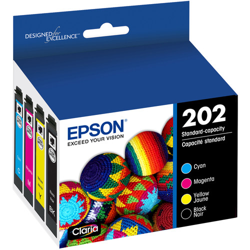 Epson Claria 202 Standard-Capacity Ink Cartridge Combo Pack (Black, Cyan, Magenta, Yellow)