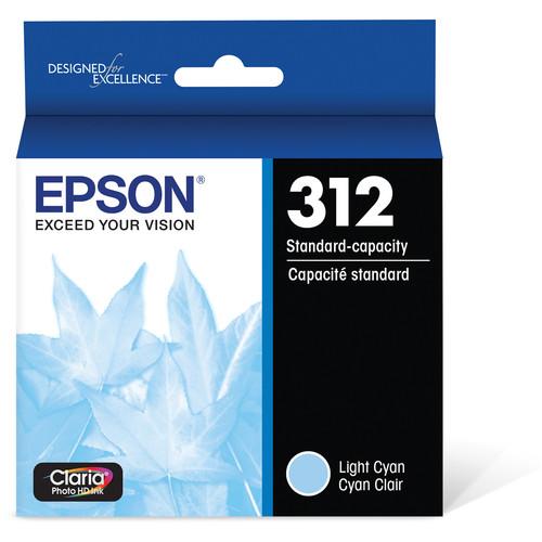 Epson T312 Light Cyan Claria Photo HD Ink Cartridge with Sensormatic