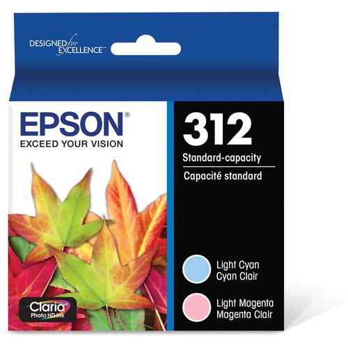 Epson T312 Light Magenta & Light Cyan Claria Photo HD Ink Cartridge Multi-Pack with Sensormatic