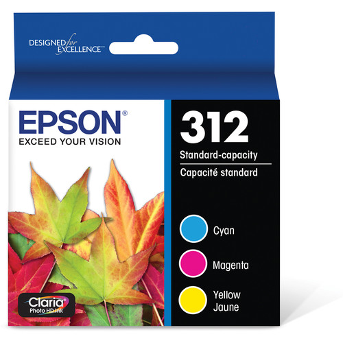 Epson Epson T312 Cyan, Magenta, and Yellow Claria Photo HD Ink Cartridge Multi-Pack with Sensormatic