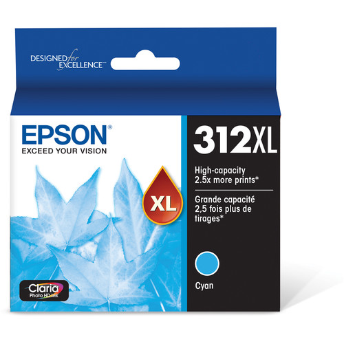 Epson T312XL Cyan Claria Photo HD Ink Cartridge with Sensormatic