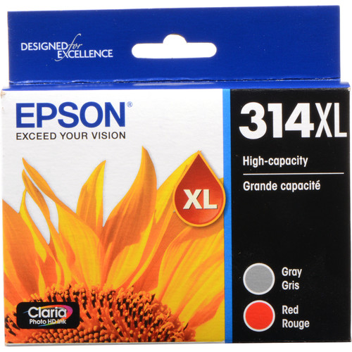 Epson T314XL Gray and Red Claria Photo HD Ink Cartridge Multi-Pack with Sensormatic