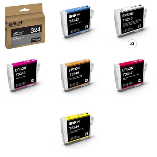 Epson T324 Ultrachrome HG2 Eight Ink Cartridge Kit with Photo Black