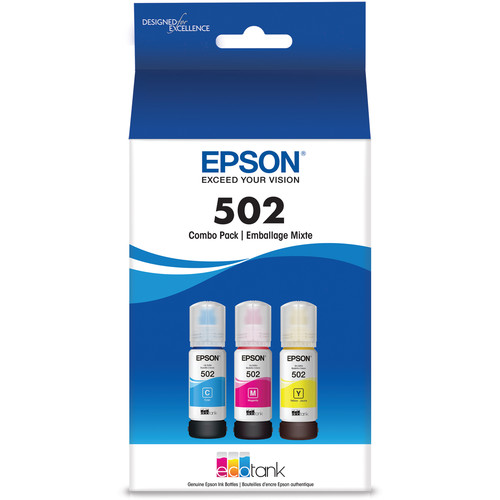Epson T502 Multi-Color EcoTank Ink Bottle Pack (Cyan, Magenta, Yellow)