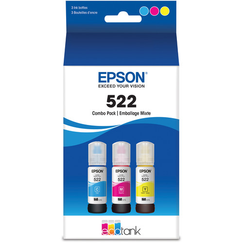 Epson T522 Multi-Color Ink Bottle Pack (Cyan, Magenta, Yellow)