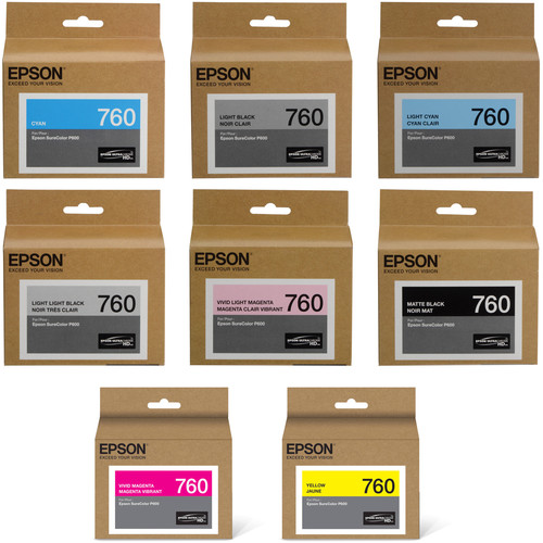 Epson T760 Ultrachrome HD Eight Ink Cartridge Kit with Matte Black