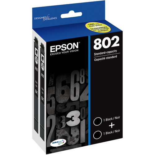 Epson 802 Black DURABrite Ultra Standard-Capacity Ink Cartridge Dual Pack