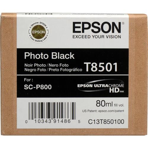 Epson T850100 UltraChrome HD Photo Black Ink Cartridge (80 ml)