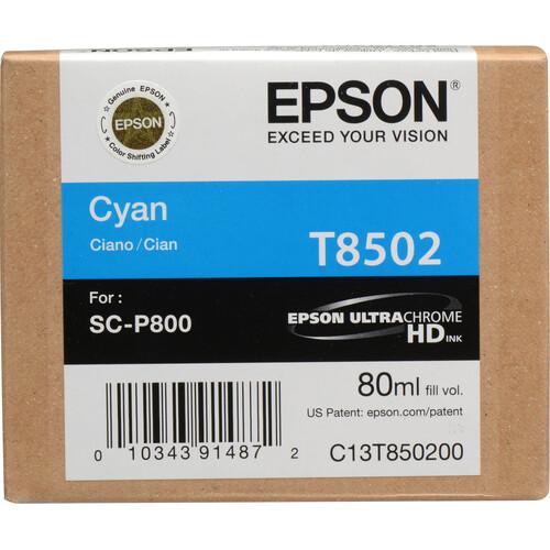 Epson T850200 UltraChrome HD Cyan Ink Cartridge (80 ml)