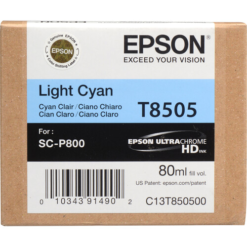 Epson T850500 UltraChrome HD Light Cyan Ink Cartridge (80 ml)