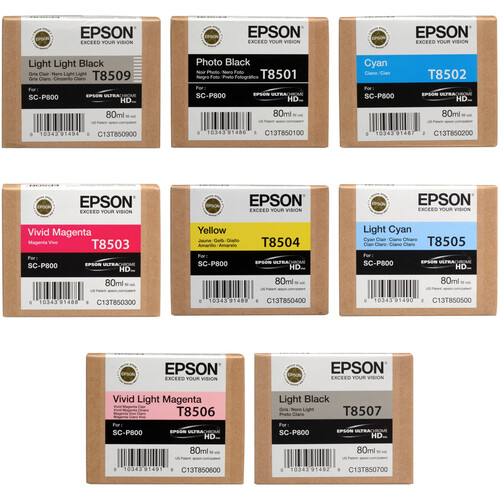 Epson T850 UltraChrome HD 8-Ink Cartridge Set with Photo Black