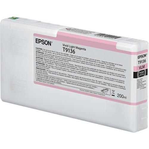Epson T9136 UltraChrome HDX Vivid Light Magenta Ink Cartridge (200 mL)