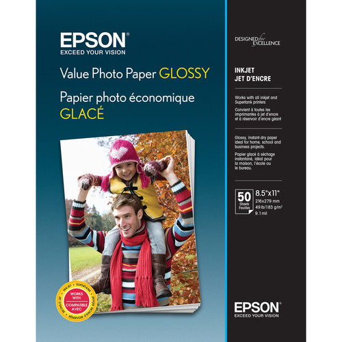 """Epson Value Photo Paper Glossy (8.5 x 11"""", 100 Sheets)"""