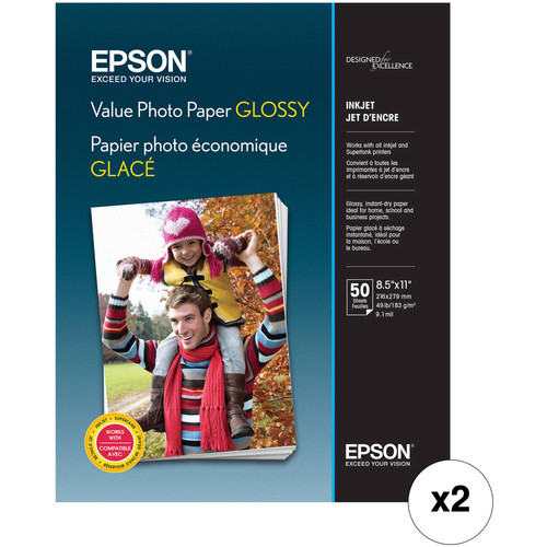 "Epson Value Photo Paper Glossy (8.5 x 11"", 100 Sheets)"