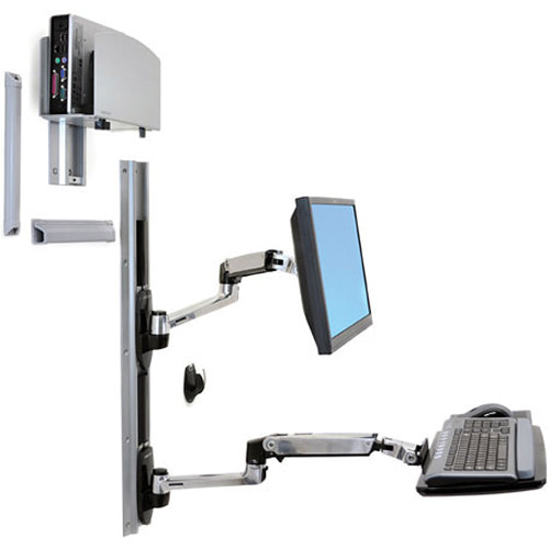 Ergotron LX Wall Mount System with Medium Silver CPU Holder