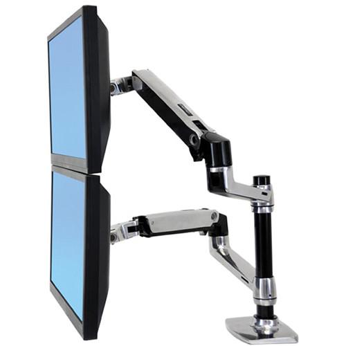 Ergotron LX Dual Desk Mount Stacking Arm (Polished Aluminum)