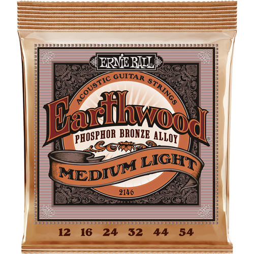 Ernie Ball Earthwood Medium Light Phosphor Bronze Acoustic Guitar Strings (12 - 54)