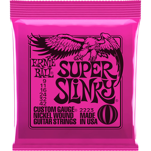 Ernie Ball Super Slinky Nickel Wound Electric Guitar Strings (6-String Set, .009 - .042)