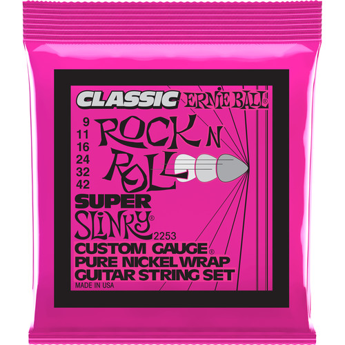 Ernie Ball Classic Rock N Roll Pure Nickel Wrap Super Slinky Guitar Strings (.009 - .042)