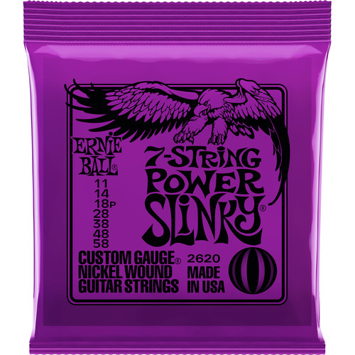 Ernie Ball 7-String Power Slinky Nickel Wound Electric Guitar Strings (7-String Set, .011 - .058)