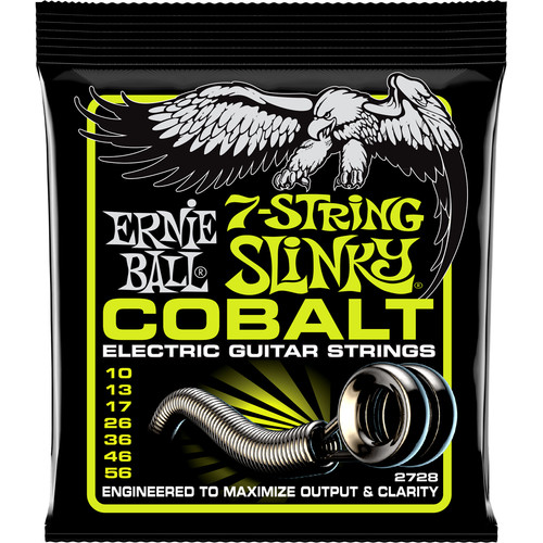 Ernie Ball Cobalt 7-String Regular Slinky Electric Guitar Strings (7-String Set, .010 - .056)