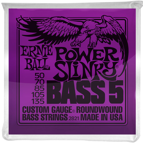 Ernie Ball Power Slinky Nickel Wound Electric Bass Strings (5-String Set, .050 - .135)
