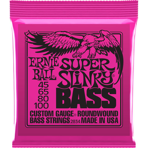 Ernie Ball Super Slinky Nickel Wound Electric Bass Strings (4-String Set, .045 - .100)