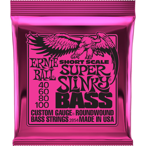 Ernie Ball Super Slinky Nickel Wound Short-Scale Electric Bass Strings (4-String Set, .040 to .100)