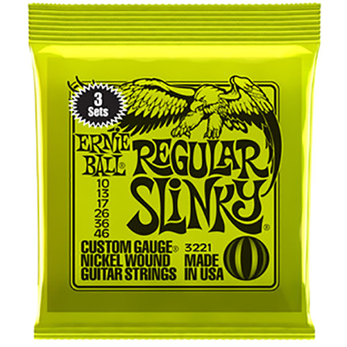 Ernie Ball Regular Slinky Nickel Wound Electric Guitar Strings (3-Pack, .010 - .046)