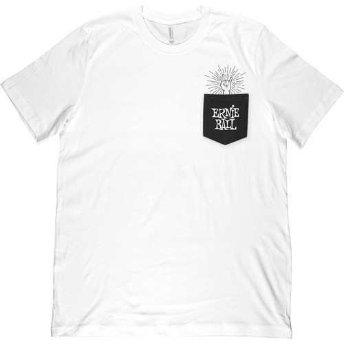 Ernie Ball Rock-On Pocket T-Shirt (Large, White)