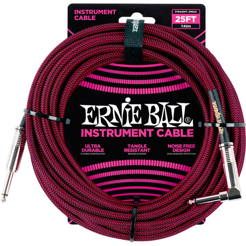"""Ernie Ball 1/4"""" Straight to 1/4"""" Right-Angle Braided Instrument Cable (25', Black/Red)"""